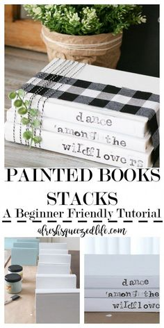 Got some old books? Got some chalk paint? Let's make a DIY Painted Book Stack. This simple craft is perfect for decor or for gifting! DIY PAINTED BOOK STACK crafts for the home Pot Mason Diy, Mason Jar Crafts, Mason Jar Projects, Diy Simple, Easy Diy, Creative Crafts, Easy Crafts, Diy Crafts Cheap, Decor Crafts