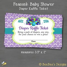 instant download peacock baby shower diaper raffle ticket purple teal green damask