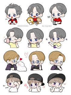 Exo Stickers, Printable Stickers, Exo Anime, Anime Art, Exo Fanart, Chanbaek, Cute Art, Art Inspo, Chibi