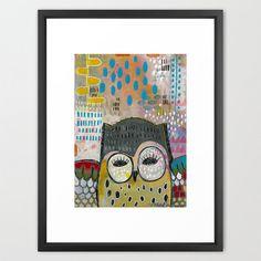 Unusual folk art owl print Colorful giclee by MadaraMasonStudio