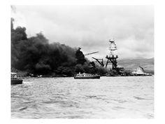 Pearl Harbor, Wreckage of Uss Arizona December 7, 1941 Premium Poster at Art.com