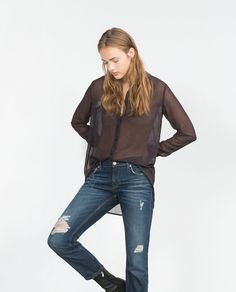 Image 3 of MID-RISE CIGARETTE JEANS from Zara