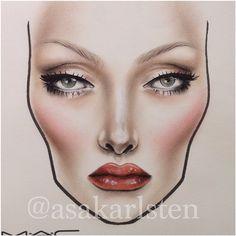 Makeup Drawing, Makeup Art, Beauty Makeup, Eye Makeup, Drugstore Beauty, Mac Face Charts, Makeup Face Charts, Mac Makeup Looks, Bridal Makeup Looks