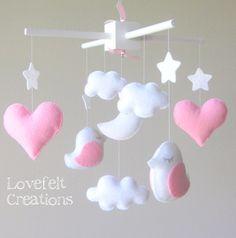 Bebé móvil pájaro móvil móvil blanco rosa por lovefeltmobiles