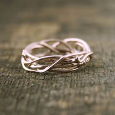14Kt Rose Gold Elvin Flow Organic Whimsical Engagement Ring Wedding Band, organic band, twig rings, vine ring, goddess ring, branch ring by opalwing on Etsy