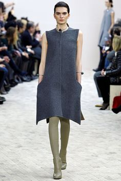 "FALL 2013 READY-TO-WEAR  Céline /   ""I really went on instinct and desire,"" said Phoebe Philo after her supremely elegant Céline show, ""if I can create any kind of desire, that's great.""  In what was certainly one of the most desirable collections of the season, Philo moved away from the now-iconic linear Céline aesthetic (which continues to influence countless less imaginative international runways) and into clothing with a gentle swing of movement or great, rounded volume."