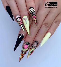 Stiletto nails are one of the shapes that many girls like. Long and pointed nails are suitable for anyone with bold ideas. We love this trendy look and have found some Trendy Stiletto Nail Art Designs. If you want beautiful, feminine nails, they are Black Nail Designs, Nail Designs Spring, Cool Nail Designs, Make Up Geek, Dope Nails, Bling Nails, Hair And Nails, My Nails, Yellow Nail Art