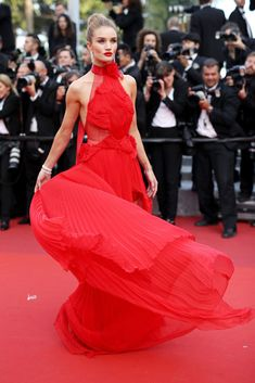 Rosie Huntington-Whitley in a pleated chiffon dress.