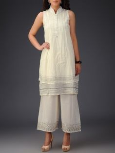 Cream Button Embellished & Stitch Detailed Layered Cotton Voile Tunic