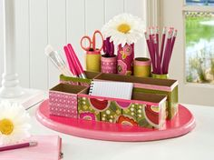 DIY School Supplies You Need For Back To School - DIY Desk Organizer - Cuter, Cool and Easy Projects for Teens, Tweens and Kids to Make for Middle School and High School. Fun Ideas for Backpacks, Pencils, Notebooks, Organizers, Binders http://diyprojectsforteens.com/diy-school-supplies