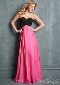 Night Moves 7031 - Black/Fuchsia Strapless Beaded Chiffon Prom Dresses Online