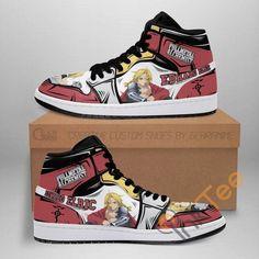 Air Jordan Sneakers, Jordans Sneakers, Air Jordans, High Top Sneakers, Custom Sneakers, Custom Shoes, Otaku, Edward Elric, Painted Shoes
