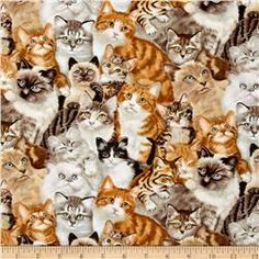 Petpourri Cats Multi Fabric By The Yard: From Elizabeth's Studio this cotton print is perfect for quilting apparel and home decor accents. Colors include brown gold grey and white. Pet Seat Covers, Cat Fabric, Cat Wallpaper, Like Animals, Cat Pattern, Fabulous Fabrics, Fabric Online, Accent Colors, Cool Artwork