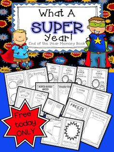 FREEBIE! My VERY popular End-of-Year SUPERhero Memory Book.  Cover pages for grades K-4 included! Come check it out! All Memory books and clipart FREE for today only!