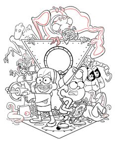 Here's a bunch of promo drawings I did during GF season Other than the big promo poster, I'm not sure if these were ever finished and used for anything or not. I remember when Alex and I were. Dipper Y Mabel, Dipper Pines, Tad Strange, Fall Coloring Pages, Colouring, Demon Baby, Desenhos Gravity Falls, Gravity Falls Art, Park Art