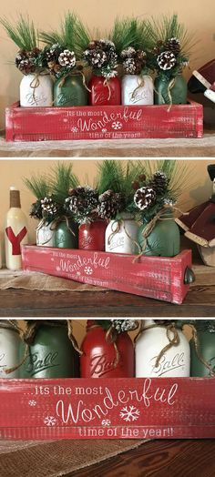Ring in this holiday season with a gorgeous mason jar christmas centerpiece! Thi… Ring in this holiday season with a gorgeous mason jar christmas centerpiece! This rustic box is packed full with christmas character! by debra Christmas Jars, Winter Christmas, Christmas Holidays, Christmas Wreaths, Christmas Ornament, Merry Christmas, Christmas Poinsettia, Ornaments, Homemade Christmas
