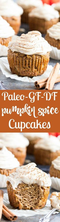 """These Paleo Pumpkin Cupcakes are soft, moist, sweet, perfectly spiced, and topped with a dairy-free maple cinnamon """"cream cheese"""" frosting! These healthy grain free sweet treats are easy to make, great for kids and perfect for fall and winter."""