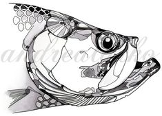 Limited Edition Black and White Tarpon Fish Art Gicleé Print Conservation Matted to White Things white color remover online Dibujos Zentangle Art, Fish Artwork, Desenho Tattoo, Fish Print, Fine Art Paper, Art Drawings, Fish Drawings, Vinyl Decals, Giclee Print