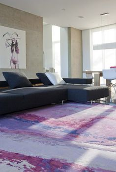 In partnership with Zoë Pawlak, Burritt Bros. Carpet & Floors is launching a line of graphic area rugs inspired by Pawlak's contemporary artwork. Contemporary Artwork, Carpet Flooring, Texture Painting, Home Decor Accessories, Blue Grey, Area Rugs, Colours, Pillows, Electric