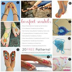 Roundup: 20 free crochet patterns for barefoot sandals via Oombawka Design Crochet Round, Love Crochet, Crochet Baby, Crochet Summer, Diy Crochet, Crochet Ideas, Ombre Yarn, Modern Crochet Patterns, Crochet Barefoot Sandals