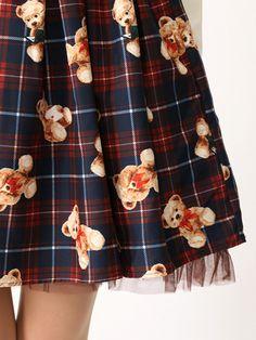 Ank Rouge  アンクルージュ Ailand : Ank Rouge > テディ柄バックリボンスカート(400150046)