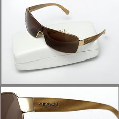 Versace Sunglasses (Men's Pre-owned Gold Metal Logo Brown Lens Gianni Versace Designer Sun Glasses)