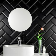 These black metro tiles are part of the mini metro tiles range and can be co-ordinated with other small gloss metro tiles from the range.