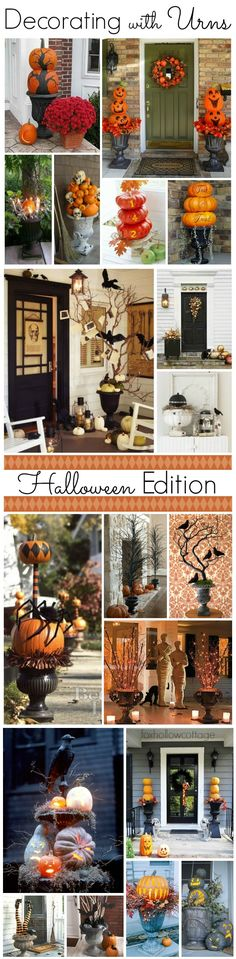 Fantastic Ideas for Decorating with Urns on the Porch & Indoors! Lots of Inspriation for creating a Perfect Halloween Welcome from Pretty to Spooky! www.foxhollowcottage.com