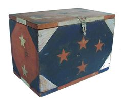 Red, white, and blue Box with stars