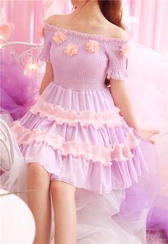 Sweet floral strapless chiffon dress - Thumbnail 1