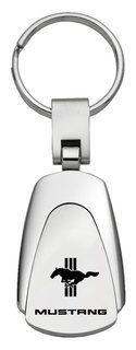 Ford Mustang Tri-Bar Black Teardrop Key Fob Authentic Logo Key Chain Key Ring Keychain Lanyard