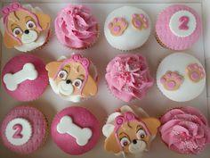 Paw Patrol's 'Skye' themed cupcakes for a second birthday Paw Patrol Cups, Girls Paw Patrol Cake, Bolo Do Paw Patrol, Skye Paw Patrol Cake, Sky Paw Patrol, Torta Paw Patrol, Paw Patrol Birthday Girl, Paw Patrol Cake Toppers, Paw Patrol Cupcakes