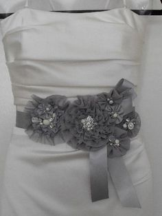 white bridal gown with black sash - Bing Images