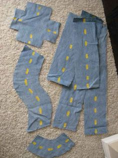 Jeans turn into play roads. | 28 Household Items You Can Repurpose For Your Kids
