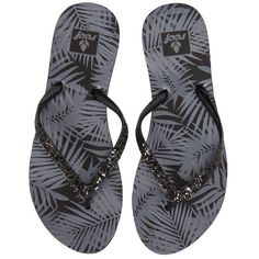 Women's Reef 'Stargazer' Flip Flop ($28) ❤ liked on Polyvore featuring shoes, sandals, flip flops, black tropic, strap sandals, black sparkly flip flops, black strappy flip flops, reef flip flops and monk-strap shoes