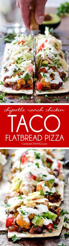 Chipotle Ranch Chicken Taco Flatbread Pizza is one of the BEST pizzas you will ever make and takes minutes to whip up! #tacopizza #flatbreadpizza @flatoutflatbread