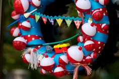 fishing party wreath, adorable fishing party