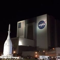 Orion Spacecraft in front of the Vertical Assy Bldg (VAB) at Kennedy Space Center - Nov 2014 - Orion is scheduled for an early December launch atop a ULA Delta IV Heavy rocket.