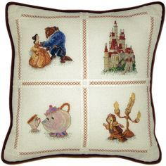 """Beauty And The Beast Pillow Counted Cross Stitch Kit-14""""X14"""" 18 Count"""