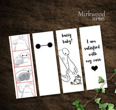 Baymax Bookmarks   Set of 4 Big Hero 6 by MirkwoodScribes on Etsy