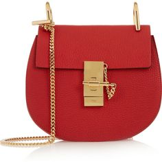Chloé Drew mini textured-leather shoulder bag ($1,650) ❤ liked on Polyvore featuring bags, handbags, shoulder bags, borse, bolsas, purses, red, crossbody purse, mini crossbody purse and red crossbody purse
