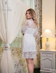 Handmade Bridal Robe Romance from NYC Bride , made in Europe Bridal Nightgown, Bridal Party Robes, Lace Nightgown, Gold Bridesmaid Dresses, Long Wedding Dresses, Lace Kimono, Night Gown, Beautiful Dresses, Beautiful Bride