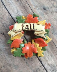 Happy Fall Leaf Wreath Brooch Pin by Pastiche Accessories on Etsy