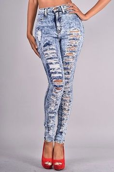 Sexy High Waisted Ripped Jeans for a go anywhere look. | Blue Jean ...