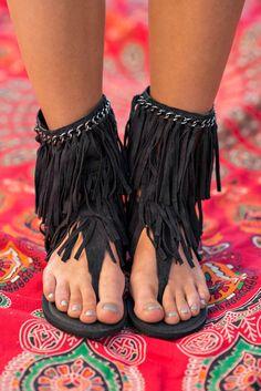 A Walk To Remember Mid-Calf Fringe Sandals (Black) - NanaMacs.com - 5