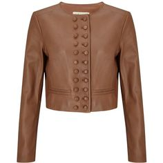 Somerset by Alice Temperley Military Leather Jacket , Cognac (1.055 BRL) ❤ liked on Polyvore featuring outerwear, jackets, cognac, double breasted jacket, leather jackets, military leather jacket, cropped military jackets and cropped jacket