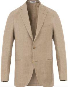BOGLIOLI;- beige, linen/wool blend, herringbone blazer.