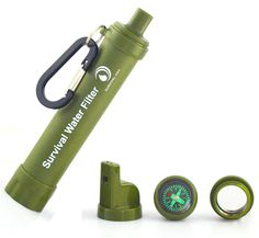 Survival Personal Water Filter Straw for Camping, Hiking, Backpacking, and Prepping. Portable Purifier is BPA Free and Lightweight. Filtration System removes 99.9% bacteria, includes Travel Carabiner -- Check this awesome item shown here  : Camping gear