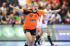 Nycke Groot celebrates after goal during the 22nd IHF Women's Handball World Championship Semi Final match between Netherlands and Poland in Jyske Bank Boxen on December 18, 2015 in Herning, Denmark.