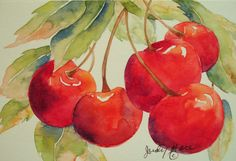 Original red cherries greeting card watercolor painting